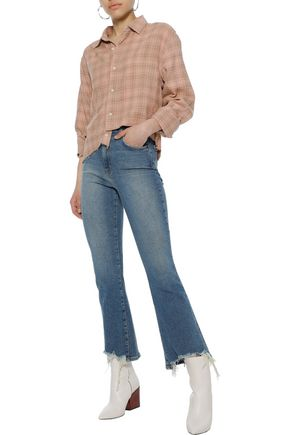 Distressed High Rise Kick Flare Jeans by Current/Elliott