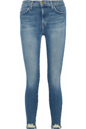 CURRENT/ELLIOTT Distressed high-rise skinny jeans
