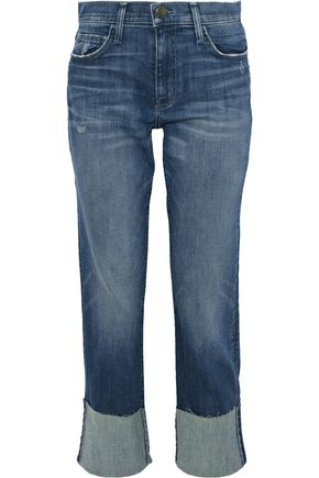 CURRENT/ELLIOTT Cropped distressed straight-leg jeans
