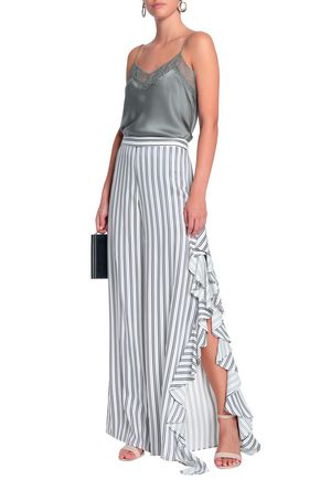 1e4003feb9 ALEXIS Ruffled satin-trimmed striped twill wide-leg pants
