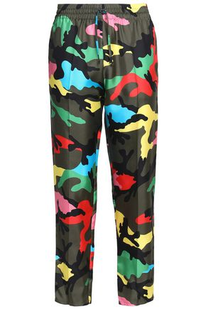 VALENTINO Printed silk-twill tapered pants