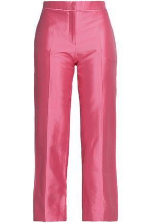 VALENTINO Cropped cotton and silk-blend high-rise straight-leg pants