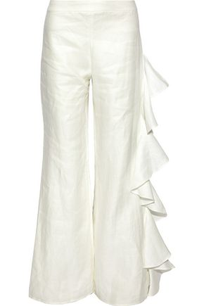ALEXIS Ruffled cotton straight-leg pants