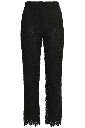 VALENTINO Cotton-blend guipure lace straight-leg pants