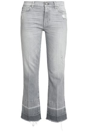 7 FOR ALL MANKIND Cropped distressed mid-rise bootcut jeans