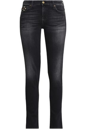 7 FOR ALL MANKIND Embellished low-rise skinny jeans
