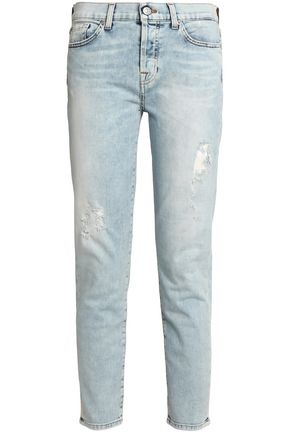 7 FOR ALL MANKIND Josie cropped distressed mid-rise slim-leg jeans