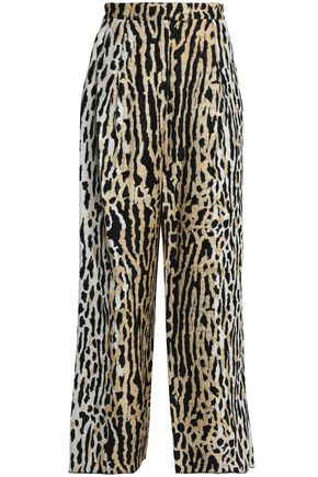 VALENTINO Leopard-print cotton-blend jacquard wide-leg pants