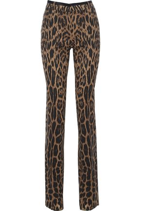 ROBERTO CAVALLI Silk-trimmed leopard-print wool-blend straight-leg pants