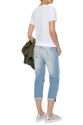 ALICE + OLIVIA Scott cropped distressed boyfriend jeans