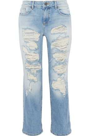 ALICE+OLIVIA Scott cropped distressed boyfriend jeans