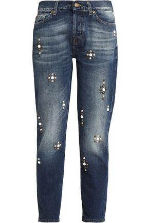7 FOR ALL MANKIND Josefina studded mid-rise slim-leg jeans