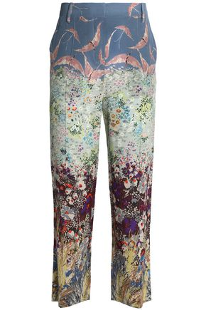 VALENTINO Cropped printed silk straight-leg pants
