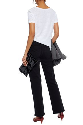ALEXACHUNG Frayed mid-rise straight-leg jeans
