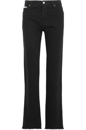 ALEXACHUNG Frayed mid-rise straight-leg jeans