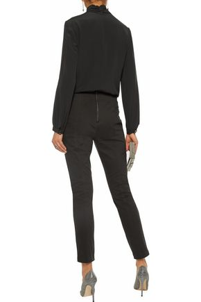 MICHELLE MASON Cropped lace-up stretch cotton-twill skinny pants