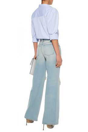ALEXANDER WANG Distressed high-rise wide-leg jeans