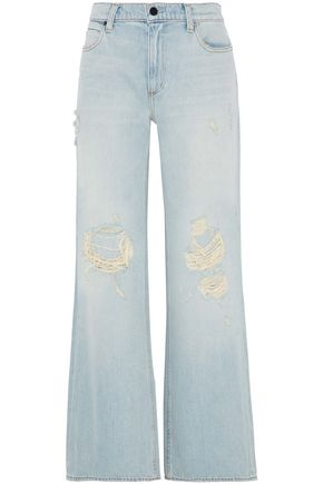 ALEXANDER WANG Distressed high-rise wide-leg jeans