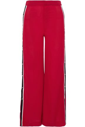 W118 by WALTER BAKER Maxine button-detailed crepe  wide-leg pants