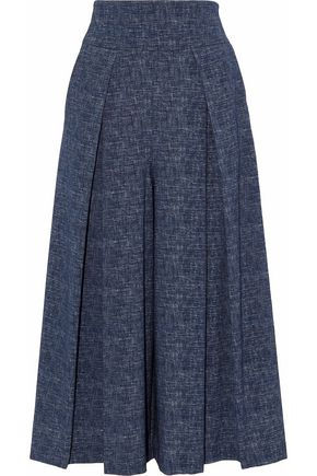 MILLY Pleated denim culottes