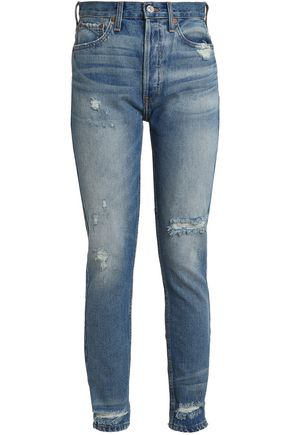 RE/DONE by LEVI'S Distressed high-rise straight-leg jeans