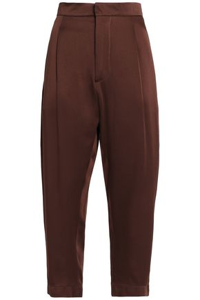 MARNI Cropped satin-crepe tapered pants