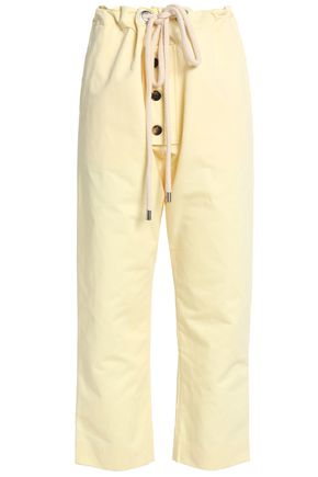 MARNI Cropped cotton and linen-blend straight-leg pants