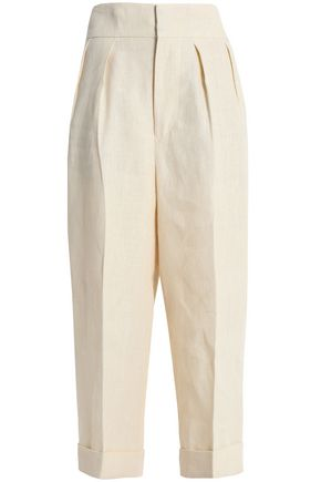 MARNI Cropped linen wide-leg pants
