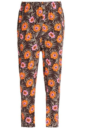 MARNI Cropped floral-print crepe tapered pants