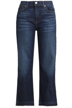 7 FOR ALL MANKIND Cropped faded mid-rise booctut jeans