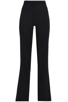 ALEXACHUNG Satin-trimmed wool-twill straight-leg pants