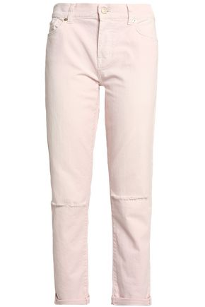 7 FOR ALL MANKIND Cropped distressed mid-rise straight-leg jeans