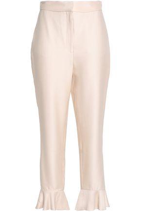 VILSHENKO Ruffled twill slim-leg pants