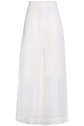 SOLACE LONDON Linen and silk-blend wide-leg pants
