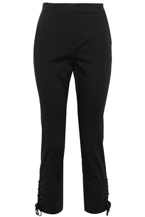 MAX MARA Aggravi lace-up cropped cotton-blend slim-leg pants
