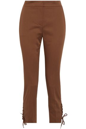 MAX MARA Aggravi lace-up cotton-blend slim-leg pants