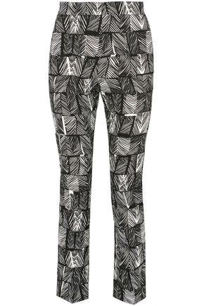 MAX MARA Paggio cropped printed cotton-blend straight-leg pants
