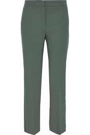 MAX MARA Peplo cropped cotton-twill straight-leg pants