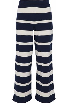 MAX MARA Califfo cropped striped stretch-knit wide-leg pants