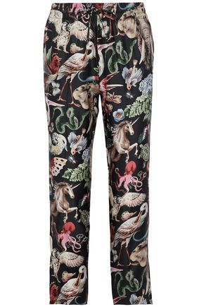 VALENTINO Cropped printed silk-twill relaxed-leg pants