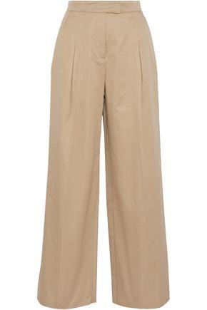 VALENTINO Pleated cotton-twill wide-leg pants