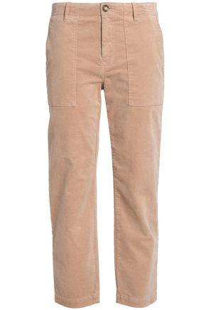 JOIE Cropped velvet mid-rise slim-leg pants