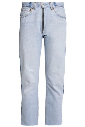 RE/DONE by LEVI'S Cropped distressed high-rise straight-leg jeans