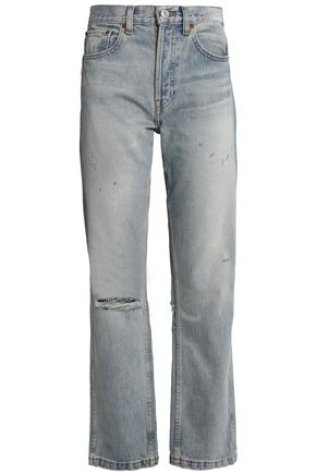 RE/DONE Distressed high-rise straight-leg jeans