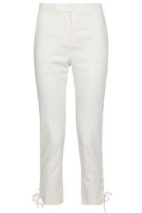 MAX MARA Cropped lace-up cotton-blend skinny pants
