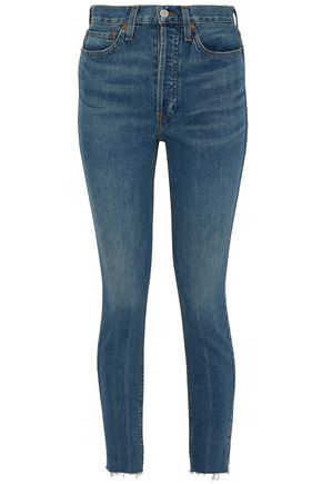 RE/DONE by LEVI'S Frayed high-rise slim-leg jeans