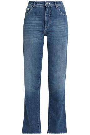 ALEXACHUNG Frayed high-rise straight-leg jeans