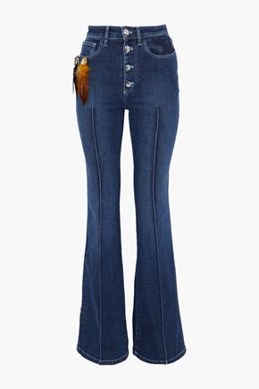 SONIA RYKIEL Embellished Embroidered Mid-Rise Flared Jeans in Mid Denim