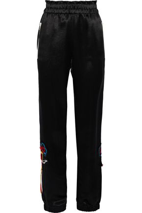 SONIA RYKIEL Appliquéd satin track pants