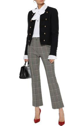 SONIA RYKIEL Cropped houndstooth wool-blend flared pants